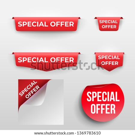 Set of red banner Special Offer. Vector illustration. Isolated on white background. #1369783610