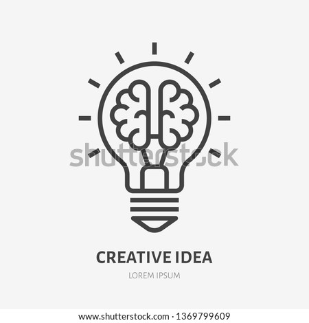 Creative idea flat line icon. Brain in lightbulb vector illustration. Thin sign of innovation, solution, education logo. Royalty-Free Stock Photo #1369799609