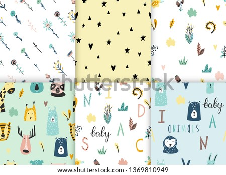 Safari baby animals seamless funny patterns collection. Set of vector kid print. Hand drawn doodle illustrations in scandinavian style.  #1369810949