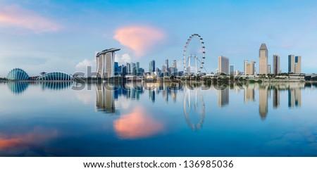 Singapore city skyline Royalty-Free Stock Photo #136985036