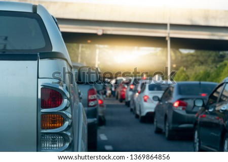 Backside of Pick up car on the road, traffic jam, Trip to travel. #1369864856