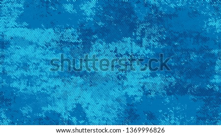 Distressed Grunge Dotted Texture. Cartoon Vintage Pattern. Polka Dots Style Texture. Blue Noise Fashion Print Design Background. #1369996826