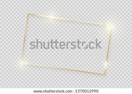 Gold shiny glowing vintage frame with shadows isolated on transparent background. Golden luxury realistic rectangle border. Vector illustration #1370012990