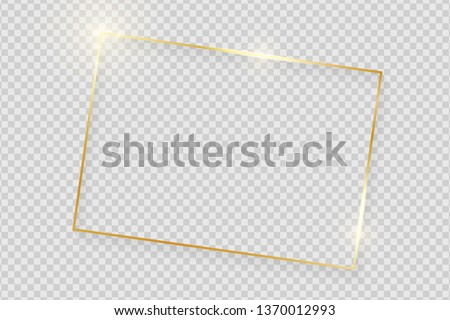 Gold shiny glowing vintage frame with shadows isolated on transparent background. Golden luxury realistic rectangle border. Vector illustration #1370012993