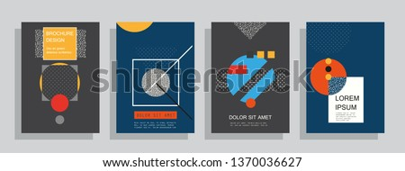 Covers templates set with graphic geometric elements. Applicable for brochures, posters, covers and banners. Vector illustrations. #1370036627
