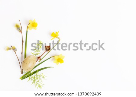 Festive flower composition on the white wooden background. Overhead view #1370092409