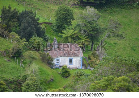 Traditional houses and rural landscapes in Santa Barbara, a small parish in the island of Santa Maria, Azores archipelago #1370098070