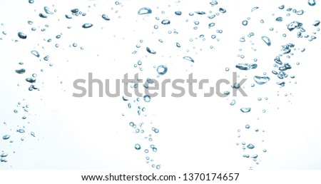 air bubbles water on white background.