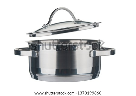 Steel saucepan and lid closeup isolated on white background #1370199860