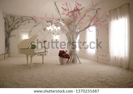 3D wallpaper Beautiful white piano and a large tree with wonderful branches in a beautiful room with luminous windows