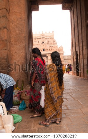 THANJAVUR, INDIA 15 FEBRUARY 2017 :  Hindu pilgrims and tourist at entrance of Brihadeeswarar Temple, This temple dedicated to Shiva located in Tamilnadu India.UNESCO World Heritage Site. #1370288219