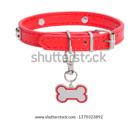Red Leather Collar with Dog Bone Tag Isolated on White Background. Royalty-Free Stock Photo #1370323892