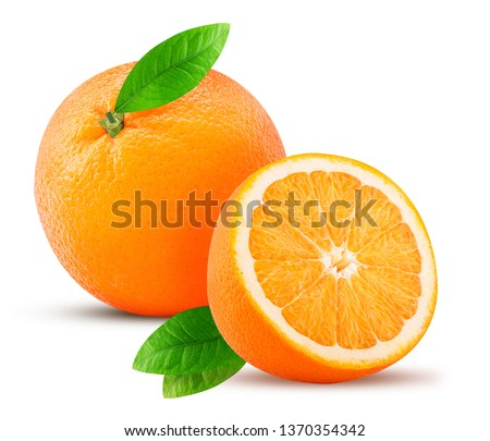 Orange fruit and one cut in half, with leaf isolated on white background. Clipping Path. Full depth of field. #1370354342