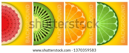 3D background. Paper sheet. Natural food. Colorful abstract graphic elements of the concept. A4, banner, advertising, cover, flyer, booklet. #1370359583