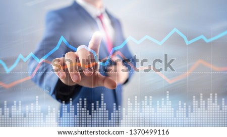 Business Financial Trading Investment concept graph virtual screen double exposure. #1370499116