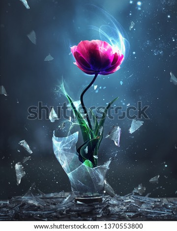 A single pink tulip is burst forth from a broken light bulb Royalty-Free Stock Photo #1370553800