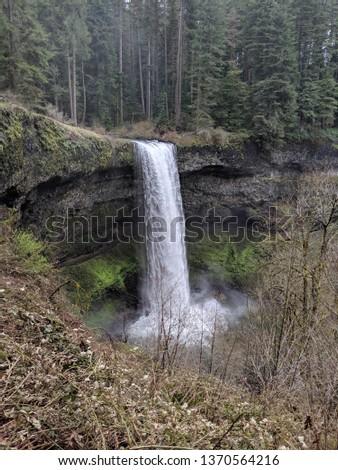 Silver Creek falls on a rainy day after flooding #1370564216