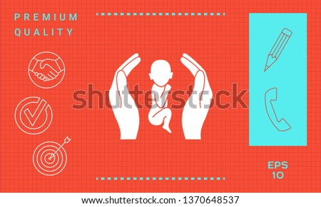 Hands holding baby, protection symbol. Graphic elements for your design #1370648537