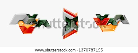 Geometric banner made of glossy geometric shapes, for background or abstract logo element. Vector template #1370787155