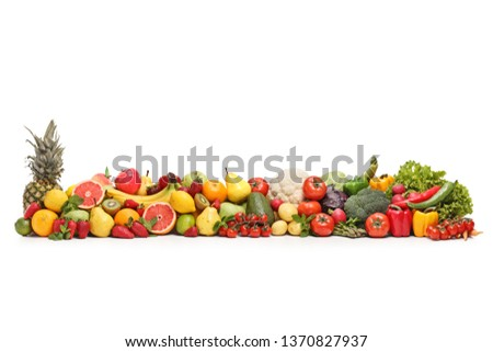 Different fruits and vegetables isolated on white background #1370827937