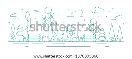 Monochrome banner template with city park or garden, trees, bushes, street lights and benches. Urban recreational area or zone. Creative colorful vector illustration in modern line art style. Royalty-Free Stock Photo #1370895860
