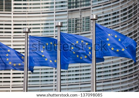 European flags in front of the Berlaymont building, headquarters of the European commission in Brussels. #137098085