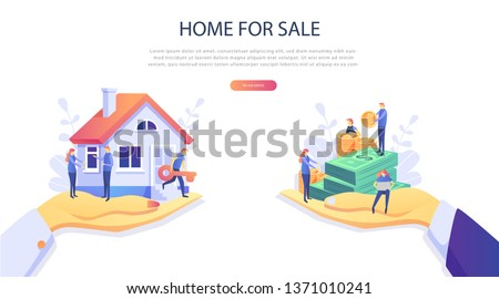 Home Loan concept, Rent,  Buying a property. Real estate agent at work,  investment, mortgage, house loan, account, banking, Hands with a house and with banknotes. Concept for presentation, web page