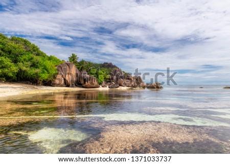 Seychelles beach, beautiful cliffs on La Digue island.  #1371033737
