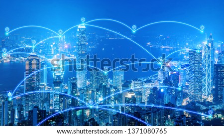 Smart city communication network and internet of things for smart city and big data concept. #1371080765
