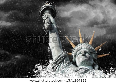Statue of Liberty in Paris in the rain, France #1371164111