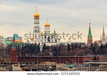 Ivan the Great Bell Tower is church tower inside Saint Basil's Cathedral complex. It is tallest tower and structure of Moscow Kremlin. It was built in 1508 on Cathedral Square for Russian Orthodox. #1371169322
