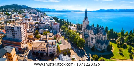 Aerial panorama of the city of Bariloche, Argentina #1371228326