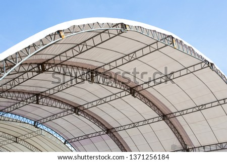 Roof Dome construction, canvas and metal sheet for event. White canvas roof #1371256184