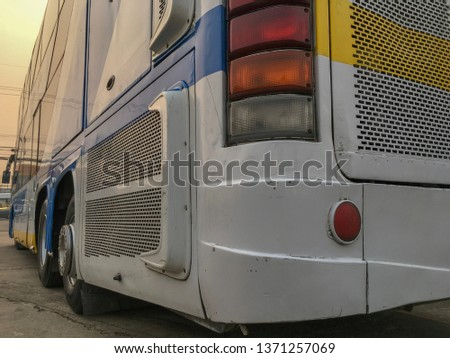 Rear and side view of public buses #1371257069