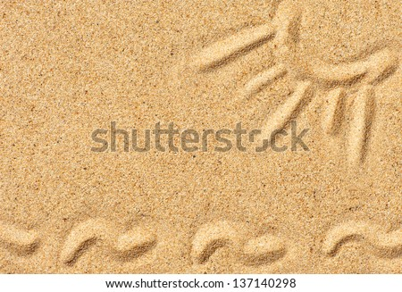 Picture of sun and waves on the sand