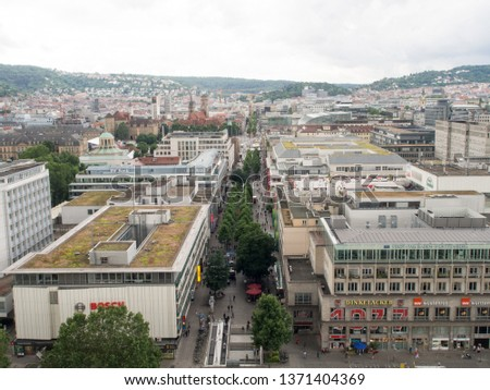 Stuttgart/Germany - July 13 2016: Koenigstrasse shopping street seen from the railway station tower. Stuttgart is the capital and largest city of the state of Baden-Württemberg #1371404369