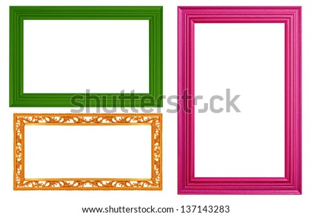 The Yellow, green, dark pink frame isolated white background.