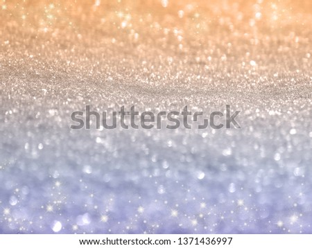 abstract white background colorful blurred christmas light garland snow #1371436997