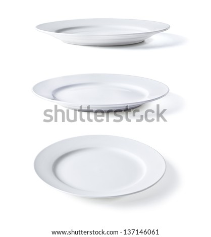 white plate in three dimensions on a white background Royalty-Free Stock Photo #137146061