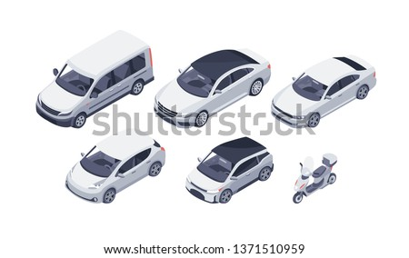 Flat isometric high quality vector modern design cars. Sedan, van, electric car and scooter. For infographics, commercial, web and game design