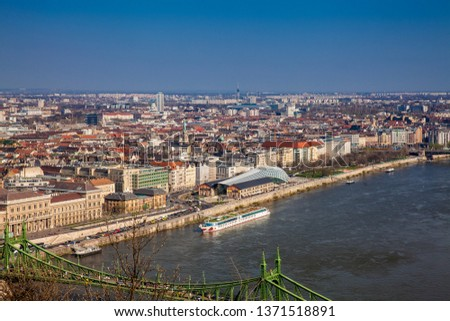 BUDAPEST, HUNGARY - APRIL, 2018: View of the Budapest city and Danube river #1371518891