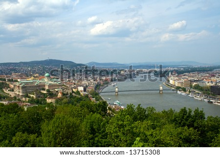 Panoramic city view of Danube and Budapest #13715308