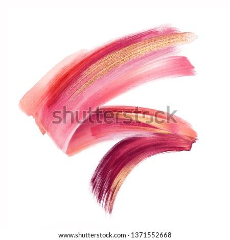 digital illustration, red pink gold paint, brush stroke isolated on white background, paint smear, cosmetics splash clip art, artistic design element