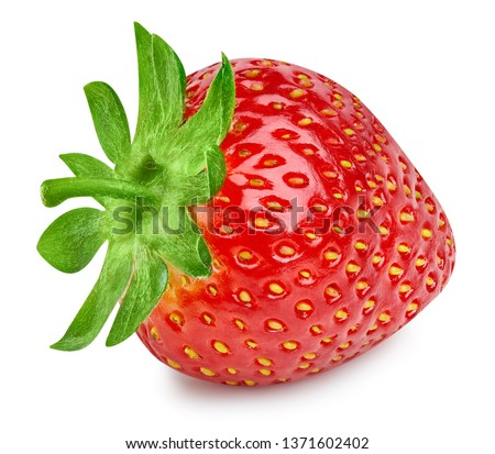 Strawberries isolated on white background. Ripe fresh strawberry Clipping Path. Professional studio macro shooting #1371602402