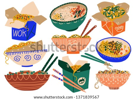Noodles Set, Traditional Asian Food in Takeaway Boxes and Ceramic Bowls Vector Illustration #1371839567