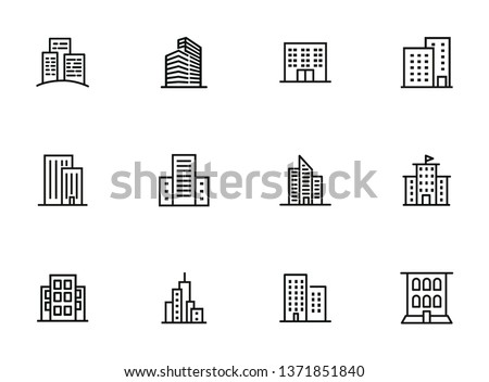 City buildings line icon set. Office building, apartment house, business area. Urban life concept. Can be used for topics like town, big city, architecture Royalty-Free Stock Photo #1371851840