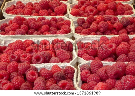 Background of  of red berries fruit for sale in spring and summer season.  #1371861989