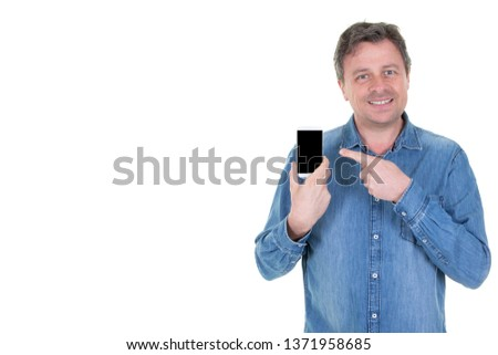 middle aged man pointing finger on black blank screen smart phone #1371958685