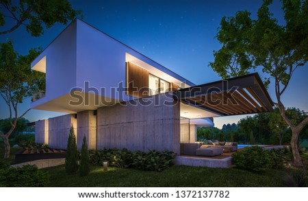 3d rendering of modern cozy house on the hill with garage and pool for sale or rent with beautiful landscaping on background. Clear summer night with many stars on the sky. #1372137782