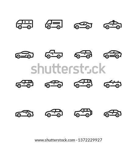 Car icons set. Line style. #1372229927